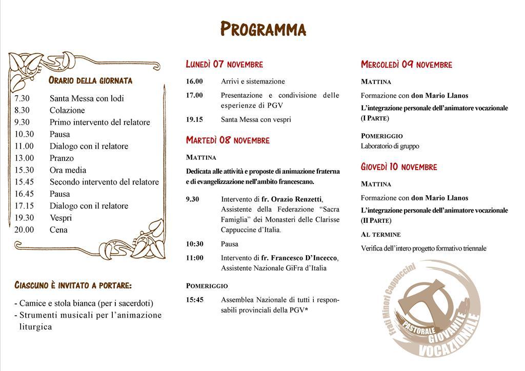 XIX CORSO DI FORMAZIONE PER ANIMATORI DELLA PASTORALE GIOVANILE VOCAZIONALE
